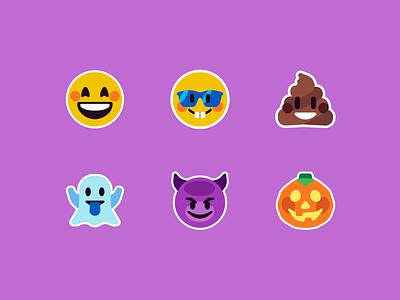 Flat Emoji halloween devil pumpkin ghost poop emoji design vector illustration icon simple character flat space