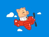 Piggy Peter flies away