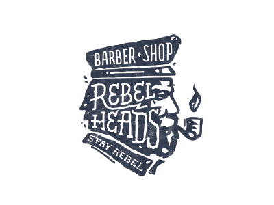 Rebel Heads  stolz logo rebel heads barber shop sailor vintage mark beard