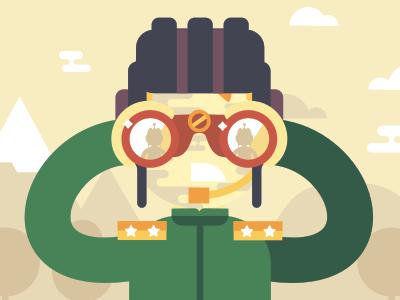 Search / Wargaming stolz illustration flat simple binoculars game tanks animation bot