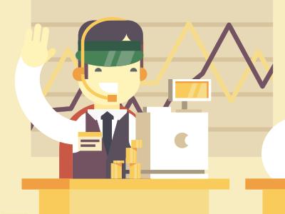 Financier / Wargaming stolz illustration flat simple financier game tanks animation bank money