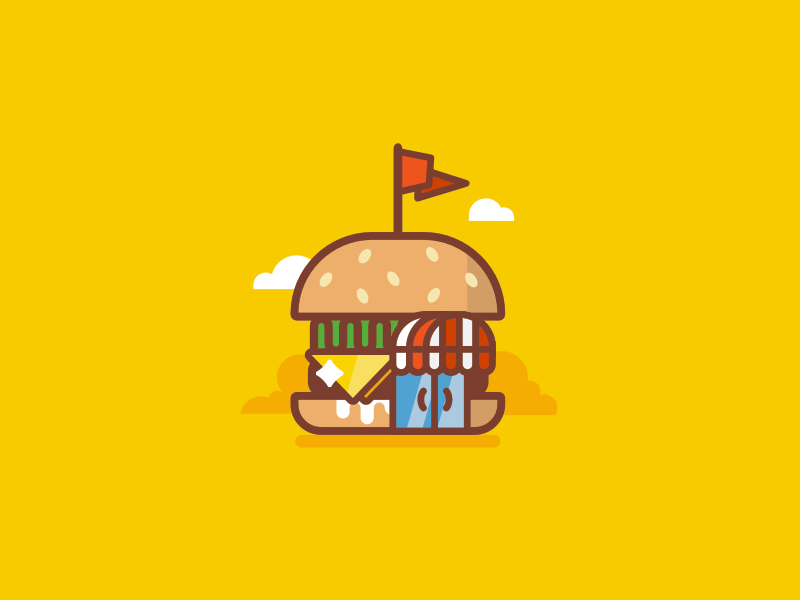 Superburger / Burger Cafe stolz logo mark line icon burger cafe meat fun illustration food