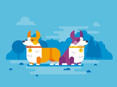 Corgis stolz illustration flat corgi corgis dog pet park simple character