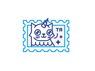 Unicat stolz illustration line sticker mark cat unicorn unicat character magic postage stamp