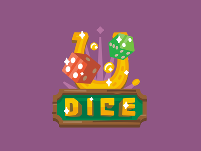 Dice stolz logo illustration dice simple flat game bone casino good luck
