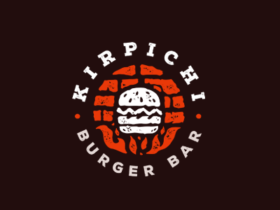 Kirpichi / Bricks/ Burger bar bricks kirpichi bar burger flame fire mark logo stolz