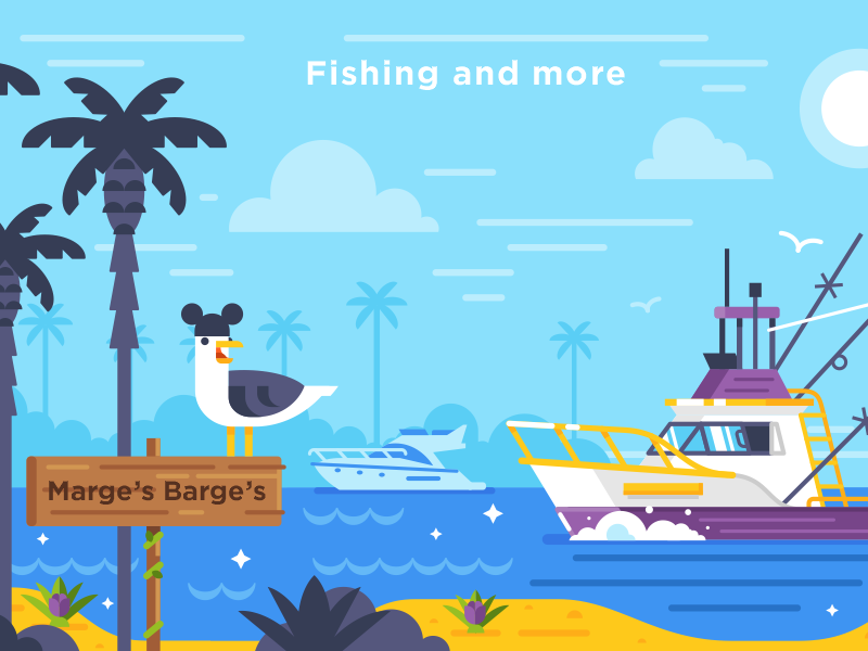 Disney World / Cruise Adventures seagull fishing boat marges barges mickey disney world disney flat illustration stolz