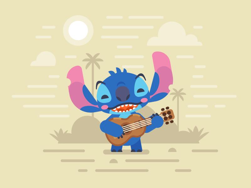 Disney World / Stitch ukulele guitar disney stitch disney world lilo  stitch flat illustration stolz