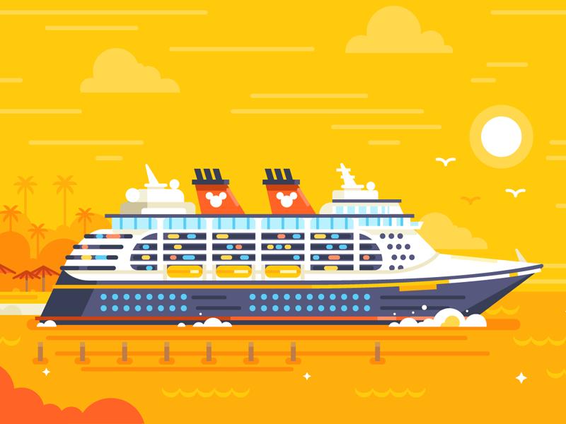 Disney World / Cruise Adventures cruise ship cruise adventures seagull mickey disney world disney flat illustration stolz