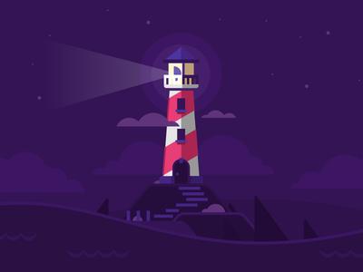 Lighthouse storm lighthouse alone lonely flat illustration stolz