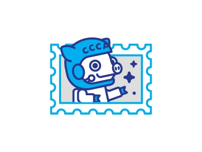 Peter Pig / Astronaut  stamp postage mark astronaut sticker russia piggy peter pig icon line stolz