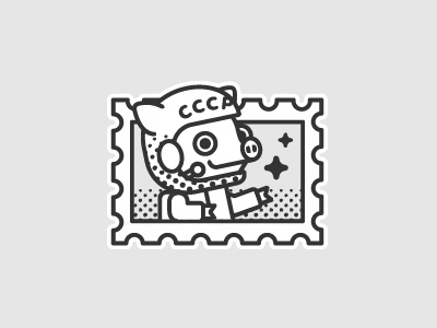 Peter Pig / Astronaut / USSR telegram ussr stamp postage astronaut sticker russia peter pig icon line stolz