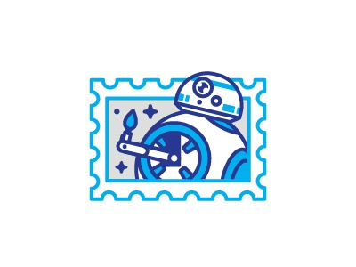 Galactic thumbs up / bb-8  illustration droid thumbs up star wars bb-8 postage stamp sticker icon mark line stolz