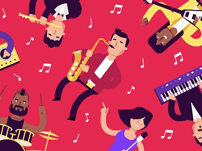 Musicians  saxophone flute guitar drum motion flat musicians music character illustration stolz