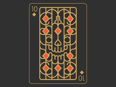Playing Arts - 10 of Diamonds ten card playingarts halloween pumpkin skull line illustration diamonds 10 stolz