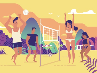 Beach volleyball pornhub ooohlympics olympic rio beach character flat illustration stolz