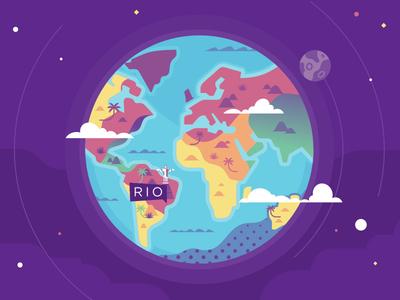 RIO pornhub ooohlympics olympic map jesus rio flat earth illustration stolz