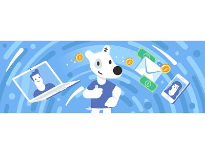 VK flat money spotty vkontakte vk character illustration stolz