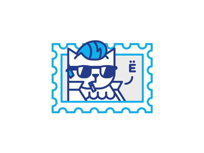 Cat Yeah telegram james dean stolz illustration sticker cat icon line mark postage stamp