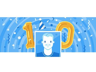 VK10 birthday character vkontakte vk 10 illustration stolz