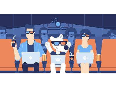 VK Hackathon movie cinema flat spotty vkontakte vk character illustration stolz