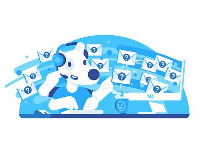 VK Support character spotty support vkontakte vk illustration stolz