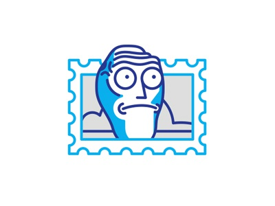 Show me what you got head stamp postage mark line icon sticker illustration stolz rick and morty