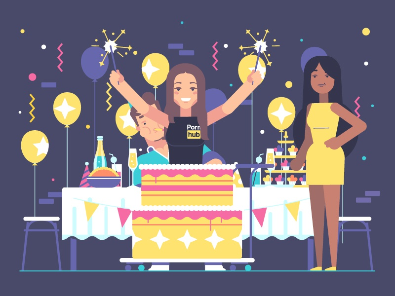 Pornhub Anniversary cake party birthday 10 anniversary arya jane dick character illustration pornhub stolz