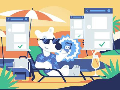 Admin community stolz illustration vk vkontakte spotty app beach summer admin community flat