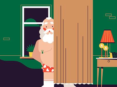 Hiding Santa christmas santa xmas pornhub flat simple illustration stolz