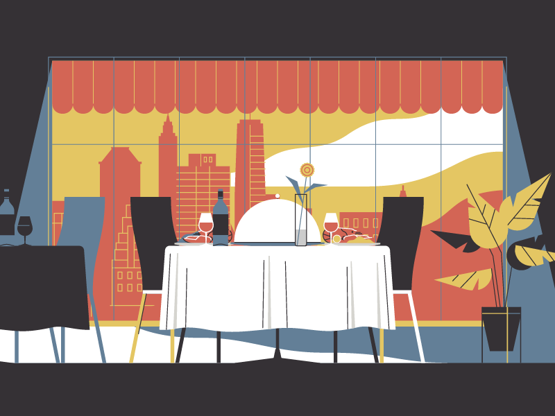 Restaurant food city stolz illustration restaurant trendy butler animation motion design