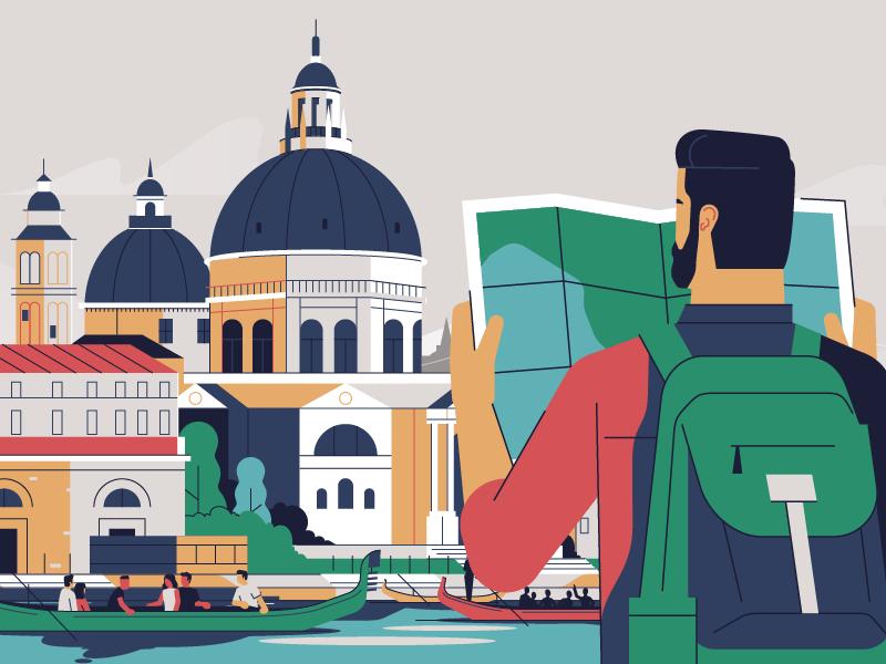 Venice character motion explainer animation map doctors italy venice illustration stolz