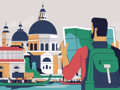 Venice character motion explainer animation map doctors italy venice illustration stolz