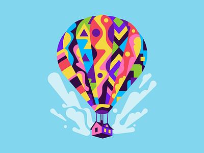 Hot Air Balloon travel house hot air balloon balloon vector flat simple illustration stolz