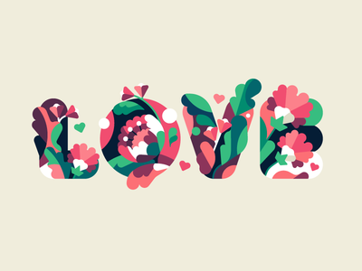 Love typography love flower letter vector simple flat illustration stolz