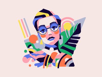 Portrait portrait girl vector simple flat character illustration stolz