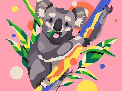 Koala sketch koala vector simple flat character illustration stolz