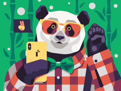 Panda Blogger phone blogger hipster panda vector simple character flat illustration stolz