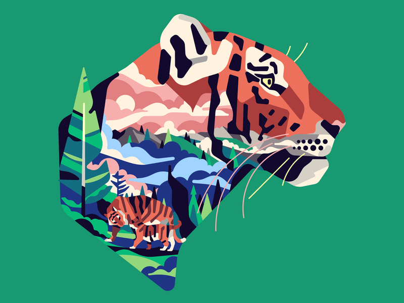 Tiger forest tiger vector simple character flat stolz illustration
