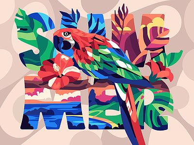 Summer vector design flat parrot simple ara illustraion stolz
