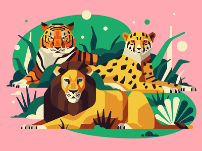 Real Cats cheetah lion tiger cats vector flat simple character illustration stolz