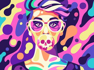 Plastic Girl procreate skull girl plastic design flat vector simple character illustration stolz