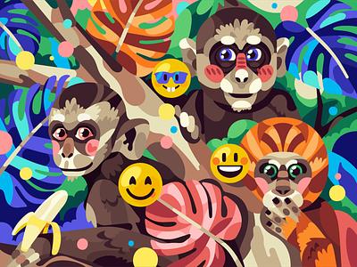 Funny Monkeys jungle smile monkey vector simple flat character illustration stolz
