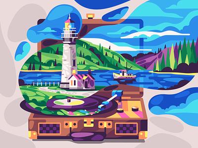 Lighthouse landscape lighthouse vector simple flat illustration stolz