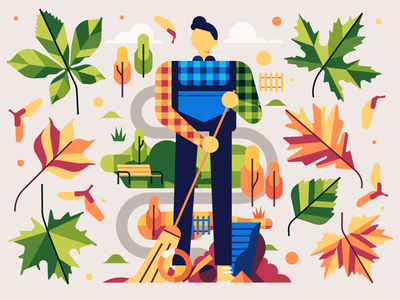 Autumn in the park leafs autumn vector simple character flat illustration stolz