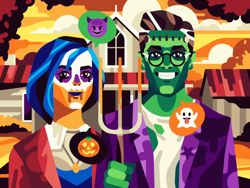 American Halloween vector gothic american halloween simple flat character illustration stolz