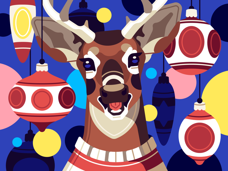 Happy Deer christmas deer vector flat character illustration stolz