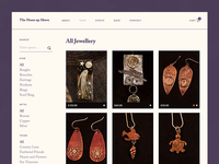 The Moon up Above   Jewellery shop website flat minimal grid filter jewellery ecommerce shop