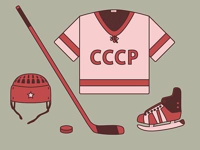 USSR hockey equipment hockey vector illustration helmet ussr skates sports hockey stick hockey puck
