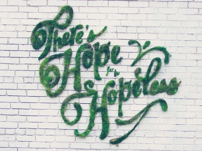 There's Hope for the Hopeless moss graffiti spanish typography environmental graphic design plants theres hope for the hopeless hope green